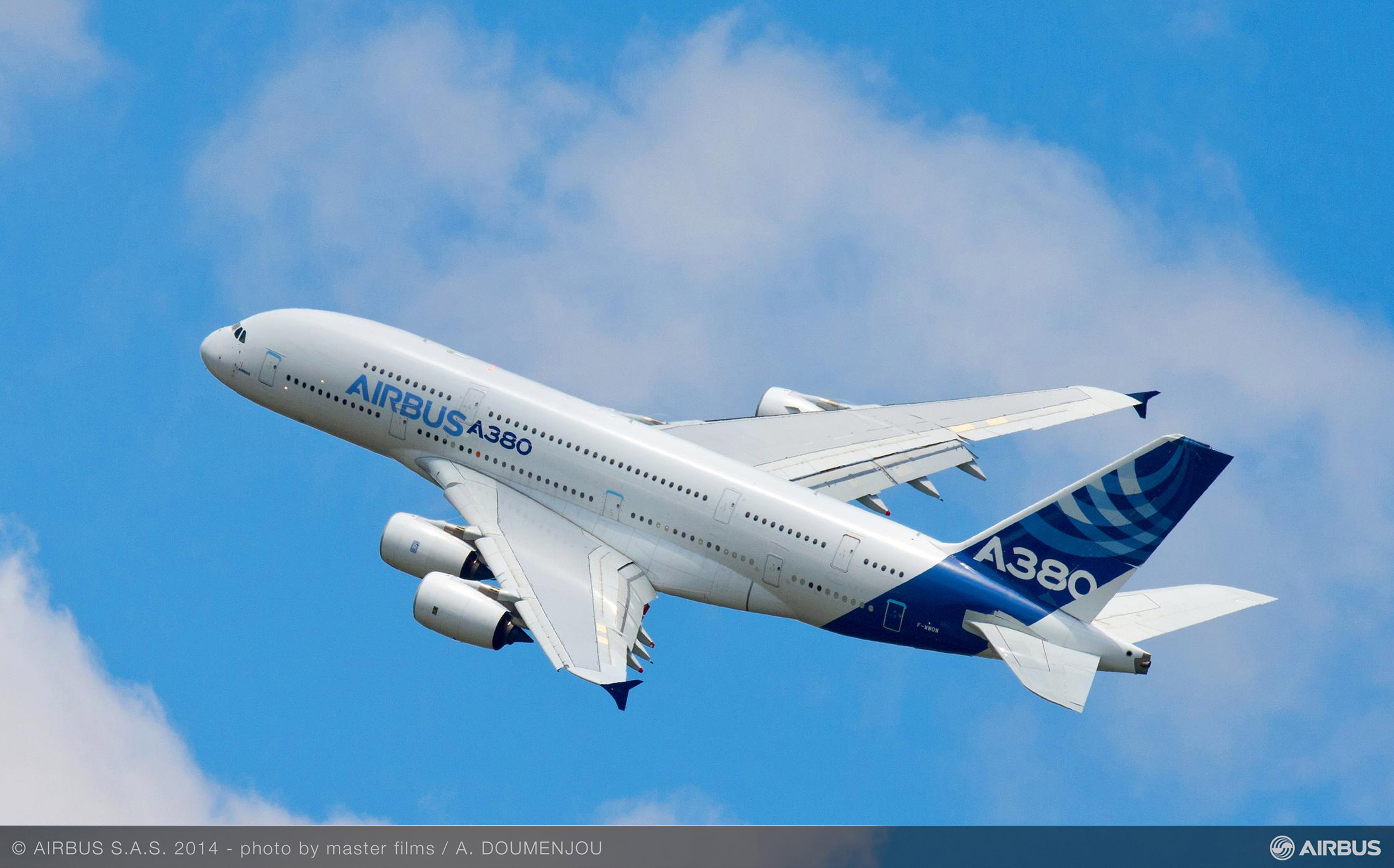 A380 AIB MSN1 IN FLIGHT  AT FARNBOROUGH AIRSHOW 2014