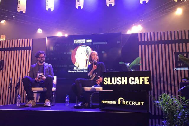 今年3月、東京ビッグサイトで開かれた世界最大級のスタートアップイベント「SLUSH TOKYO 2017」に参加。壇上から起業家や投資家との質疑に答える。