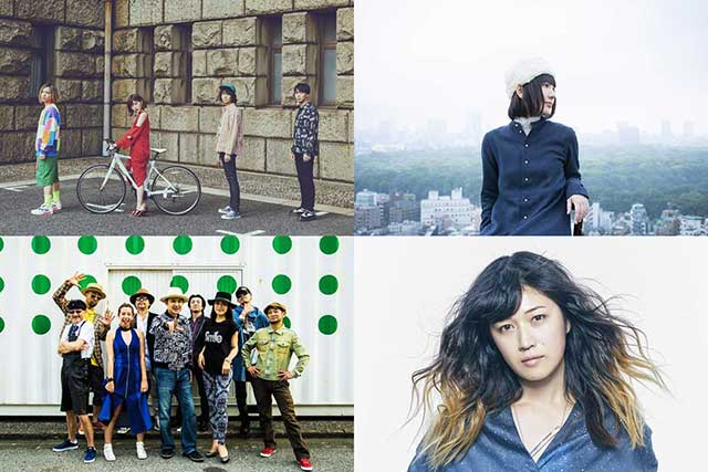 左上からShiggy Jr.、sugar me、FLYING KIDS、BONNIE PINK。
